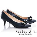 Keeley Ann簡約氣質蝴蝶結OL全真皮細跟中跟鞋(藍色685113360)