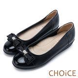 CHOiCE 舒適輕量 牛皮雙材質拼接厚底娃娃鞋-黑色