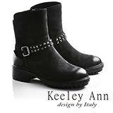 Keeley Ann龐克風潮鉚釘腰帶真皮機車短靴(黑色牛麂皮677892111-Ann系列)