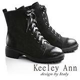 Keeley Ann率性軍風綁帶真皮工程短靴(黑色牛麂皮687893111)