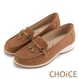 CHOiCE Q軟舒適優雅 細緻蝴蝶結牛皮水鑽坡跟鞋-深藍