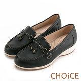 CHOiCE Q軟舒適優雅 細緻蝴蝶結牛皮水鑽坡跟鞋-黑色
