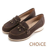 CHOiCE Q軟舒適優雅 細緻蝴蝶結牛皮水鑽坡跟鞋-咖啡