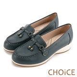 CHOiCE Q軟舒適優雅 細緻蝴蝶結牛皮水鑽坡跟鞋-藍色