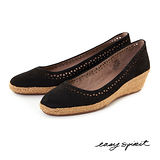 Easy Spirit--輕巧舒活草編楔型鞋--百搭黑