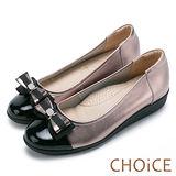 CHOiCE 舒適輕量 牛皮雙材質拼接厚底娃娃鞋-古銅粉