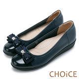 CHOiCE 舒適輕量 牛皮雙材質拼接厚底娃娃鞋-藍色