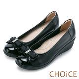 CHOiCE Q軟舒適優雅 閃耀蝴蝶結牛皮水鑽坡跟鞋-黑色