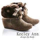 Keeley Ann異國戀冬-甜美蝴蝶結毛絨全真皮楔型底短靴(灰色687008280)