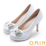 ORIN 晚宴婚嫁首選 夢幻蕾絲蝴蝶結高跟鞋-白色