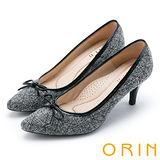 ORIN 魅力輕時尚 特殊布面百搭尖頭高跟鞋-黑色