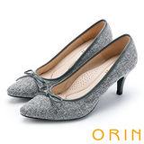 ORIN 魅力輕時尚 特殊布面百搭尖頭高跟鞋-灰色