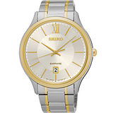 SEIKO 城市簡約美學時尚腕錶-淡金x雙色版/42mm 7N42-0GG0KS(SGEH54P1)