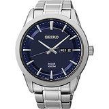 SEIKO 精工 紳士太陽能時尚腕錶-藍/44mm V158-0AS0B(SNE361P1)