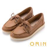 ORIN 休閒時尚潮流 質感荔枝紋綁帶牛皮厚底鞋-棕色