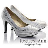 Keeley Ann璀璨光芒-完美曲線水鑽真皮軟墊高跟鞋(銀色685058227)