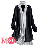 日本Portcros 預購-假兩件針織拼接條紋襯衫上衣(共二色/M-3L)