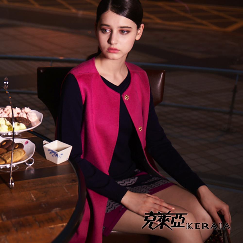 【克萊亞KERAIA】純羊毛拼接長版上衣洋裝
