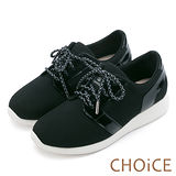 CHOiCE 中性休閒 個性綁帶輕量舒適休閒鞋-黑色