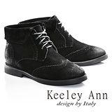 Keeley Ann馬丁小姐帥氣綁帶牛麂皮短靴(黑色687848110)