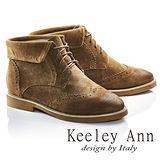 Keeley Ann馬丁小姐帥氣綁帶牛麂皮短靴(卡其色687848126)