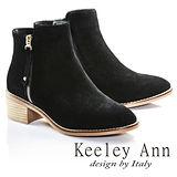 Keeley Ann低調美型幾何鉚釘金屬拉鍊牛麂皮短靴(黑色687848210)