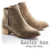 Keeley Ann低調美型幾何鉚釘金屬拉鍊牛麂皮短靴(駝灰色687848280)