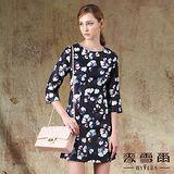 【麥雪爾】珠飾領滿版印花洋裝
