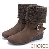 ˋ點CHOiCE 暖暖時尚 2WAY牛麂皮反領捲毛低跟短靴-可可