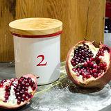 【Homely Zakka】數字2竹蓋琺瑯儲物密封罐/輕食沙拉水果罐(750ml)