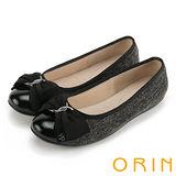 ORIN 典雅輕柔款 特殊布面拼接質感鏡牛皮平底鞋-黑色