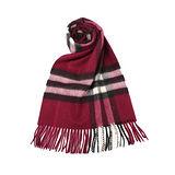 BURBERRY經典格紋喀什米爾羊毛圍巾-梅紅色
