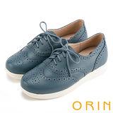 ORIN 潮流同步 全真皮雕花綁帶牛津平底鞋-藍色