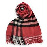 BURBERRY經典格紋喀什米爾羊毛圍巾-緋紅粉色