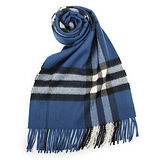 BURBERRY經典格紋喀什米爾羊毛圍巾-藏青色