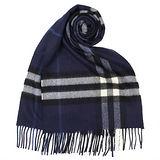BURBERRY經典格紋喀什米爾羊毛圍巾-靛藍色