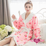 【天使霓裳】保暖睡袍 甜蜜草莓 柔軟法蘭絨一件式綁帶連身睡衣(粉F)