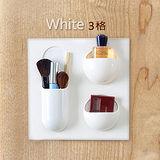 【收納職人】無印極簡設計黏貼式收納架/置物架-雲白 (3格款)