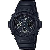 CASIO 卡西歐 G-SHOCK雙顯三眼計時腕錶-霧黑/52mm AW-591BB-1A