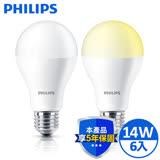 飛利浦 PHILIPS 14W LED燈泡 全電壓 白/黃光 (6入)