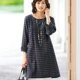 日本Portcros 現貨-七分袖條紋長版上衣(咖啡x藏青/M)