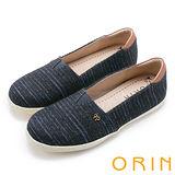 ORIN 潮流同步 表面特殊條紋布休閒平底鞋-藍色