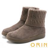 ORIN 時髦流行暖呼呼 毛線反摺素面牛皮短靴-可可
