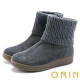 ORIN 時髦流行暖呼呼 毛線反摺素面牛皮短靴-灰色