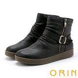 ORIN 中性時尚 率性皮帶釦環皺褶厚底短靴-咖啡
