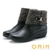 ORIN 時髦流行暖呼呼 毛料反摺皮帶釦環坡跟短靴-咖啡