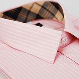 【金安德森】經典格紋繞領粉色暗紋短袖襯衫