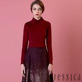 JESSICA -立領百搭羊毛針織上衣(酒紅)