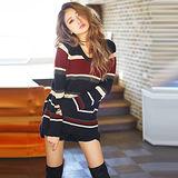 日本ANNA LUNA 預購-VIVI雜誌款 撞色橫條針織長版上衣(藏青色/M-L)