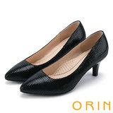 ORIN 簡約時尚OL 千鳥壓紋羊皮高跟尖頭鞋-黑色